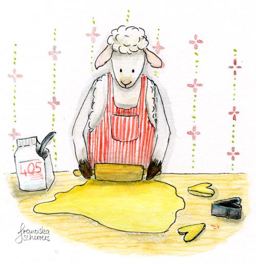 Kinderbuchillustration Weihnachten Schaf Kekse Plätzchen backen