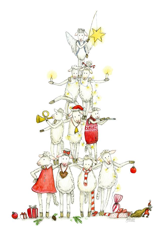 Kinderbuchillustration Weihnachtskarte Postkarte Schafe rot-weiß