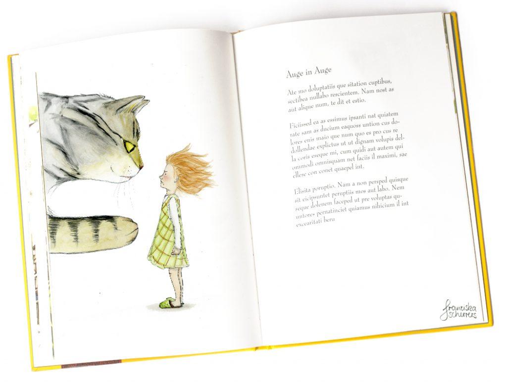 Kinderbuchillustration kleine Hexe Katze