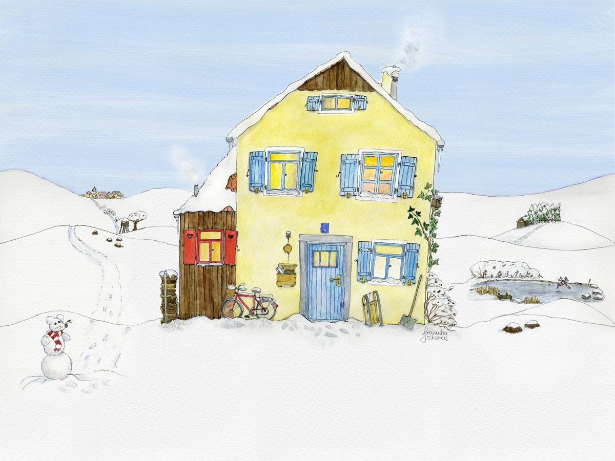 Illustration Adventskalender Außenansicht Haus in Winterlandschaft