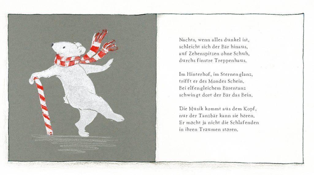 Linolduck Illustration Eisbär tanzt an Zuckerstange Gedicht