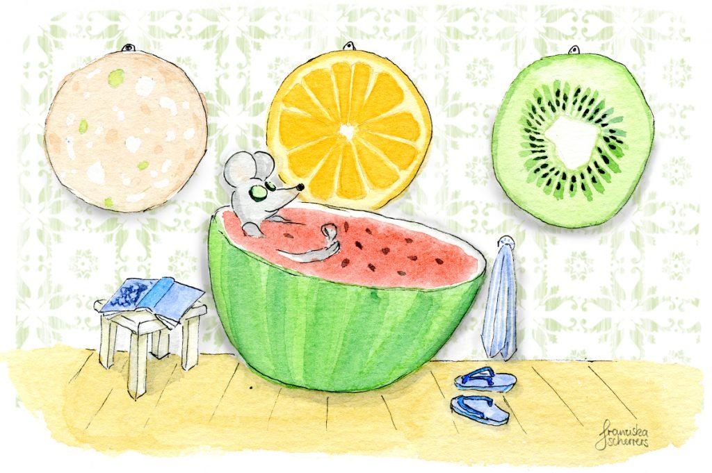 Illustration Wellnessbad Maus in Wassermelone