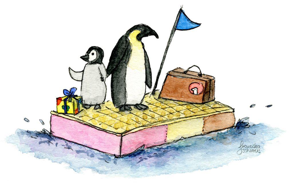 Illustration Pinguine auf Eisscholle verreisen