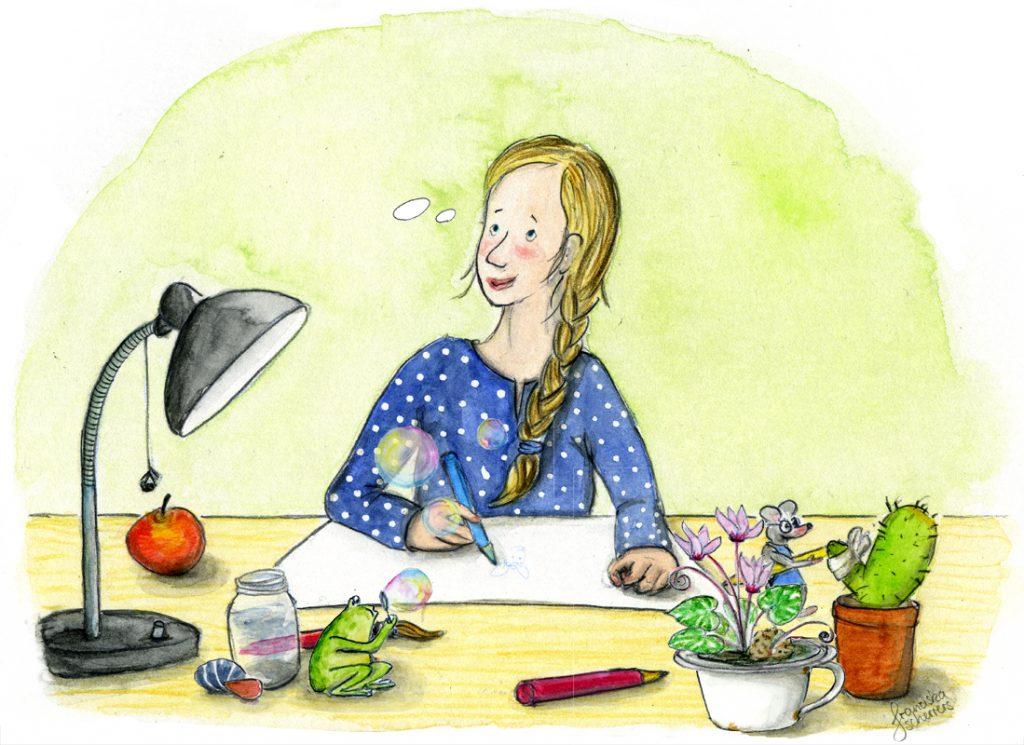Franziska Scherrers Illustratorin bei der Arbeit Selbtsportrait