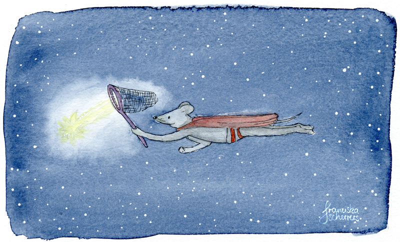 Kinderbuchillustration Postkarte Maus Nacht Sternschnuppe