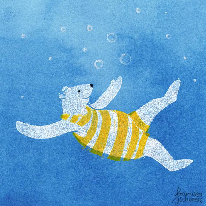 Eisbär taucht unter Linoldruck Aquarell Mischtechnik Illustration Kinderbuch