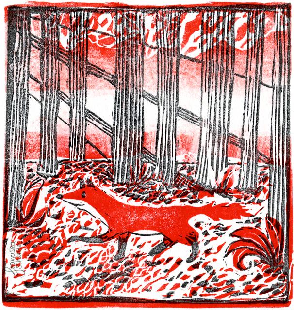 Fuchs im Wald. Linoldruck
