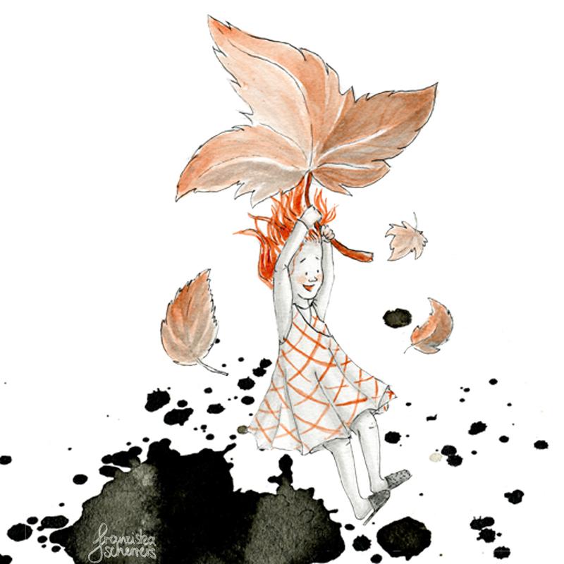 Kinderbuchillustration Inktober kleine hexe fliegt Laub