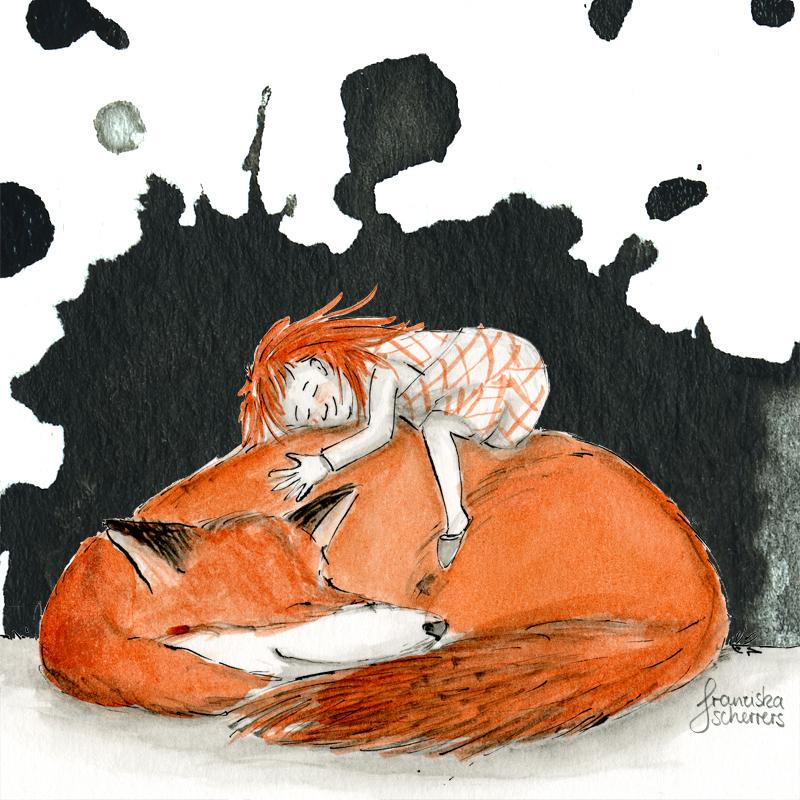 Kinderbuchillustration kleine Hexe Fuchs Inktober