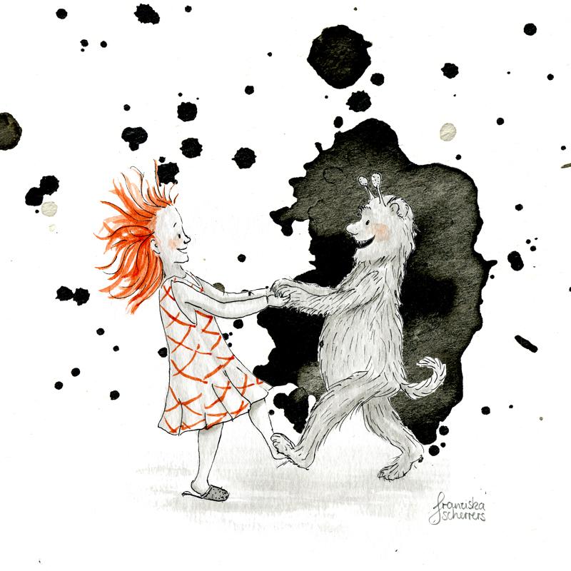 Kinderbuchillustration Inktober kleine Hexe Monster Tanz Halloween