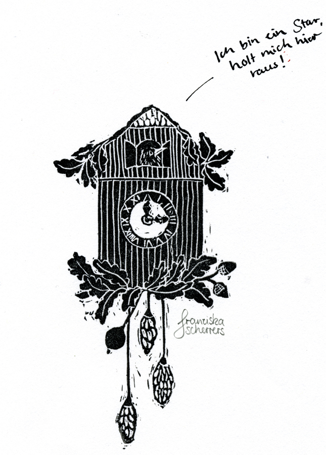Illustration Postkarte Linoldruck Star Kuckucksuhr