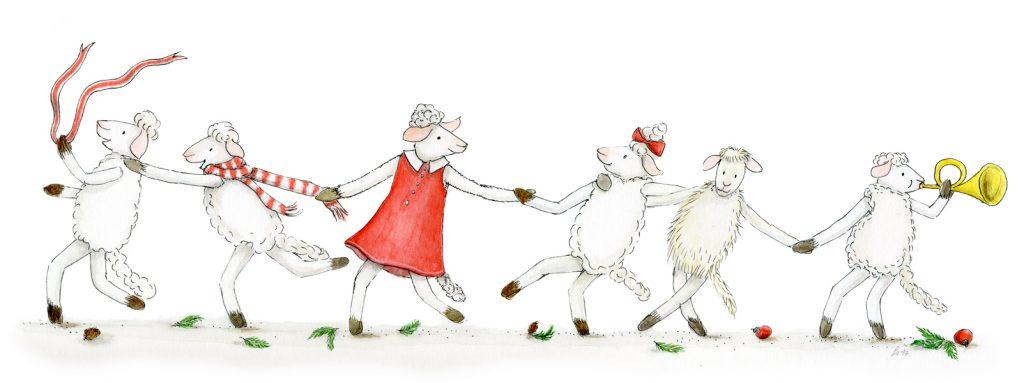 Illustration Postkarte Weihnachtskarte Schafe tanzen rot-weiß